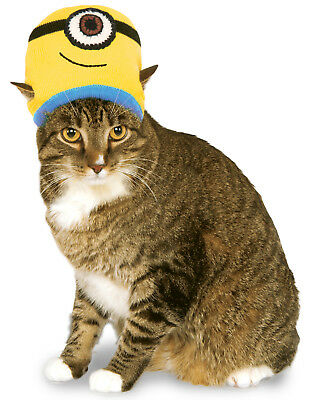 Despicable Me Pet Minion Stuart Knit Cat Costume Headpiece Hat Beanie](Minion Cat Costume)