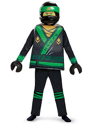 Lego Ninjago Movie Lloyd Boys Deluxe Green Energy Ninja Halloween Costume (Green Ninja Ninjago Kostüm)