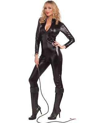 Sleek/Sexy Black Catsuit Vinyl Like Bodysuit Fetish Womens Halloween Costume](Womens Black Halloween Costumes)