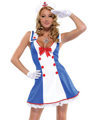 Pinup Girl Halloween Costume (Sailor Cutie Rockabilly Pinup Girl Nautical Sexy Womens Halloween Costume)