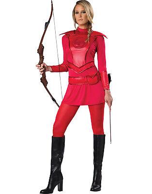 Womens Red Warrior Huntress Hunger Games Katniss Halloween Costume