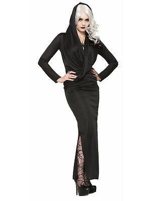 Mystic Sorceress Black Hooded Wicked Witch Halloween Dress Costume