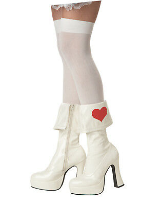 White Boots Halloween (Sexy White Alice In Wonderland Heart Ankle Boots Halloween Costume Shoes S)