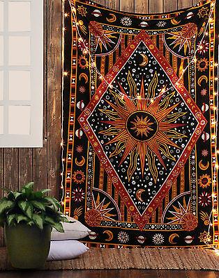 Sun Moon Stars Planet Tapestry Bohemian Indian Hippie Dorm Decor Wall Hanging
