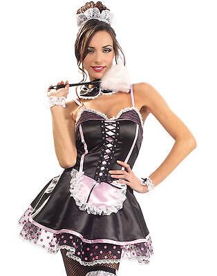Maid Naughty (Naughty French Maid Sexy Pink/Black Short Dress Halloween Fancy)