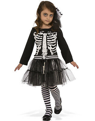 Little Skeleton Girls Ghoul Ballerina Child Halloween Costume