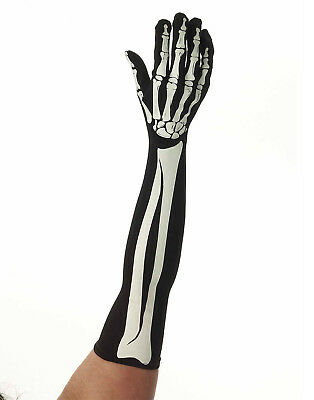 Black Skeleton Long Adult Gloves Scary Halloween Accessory