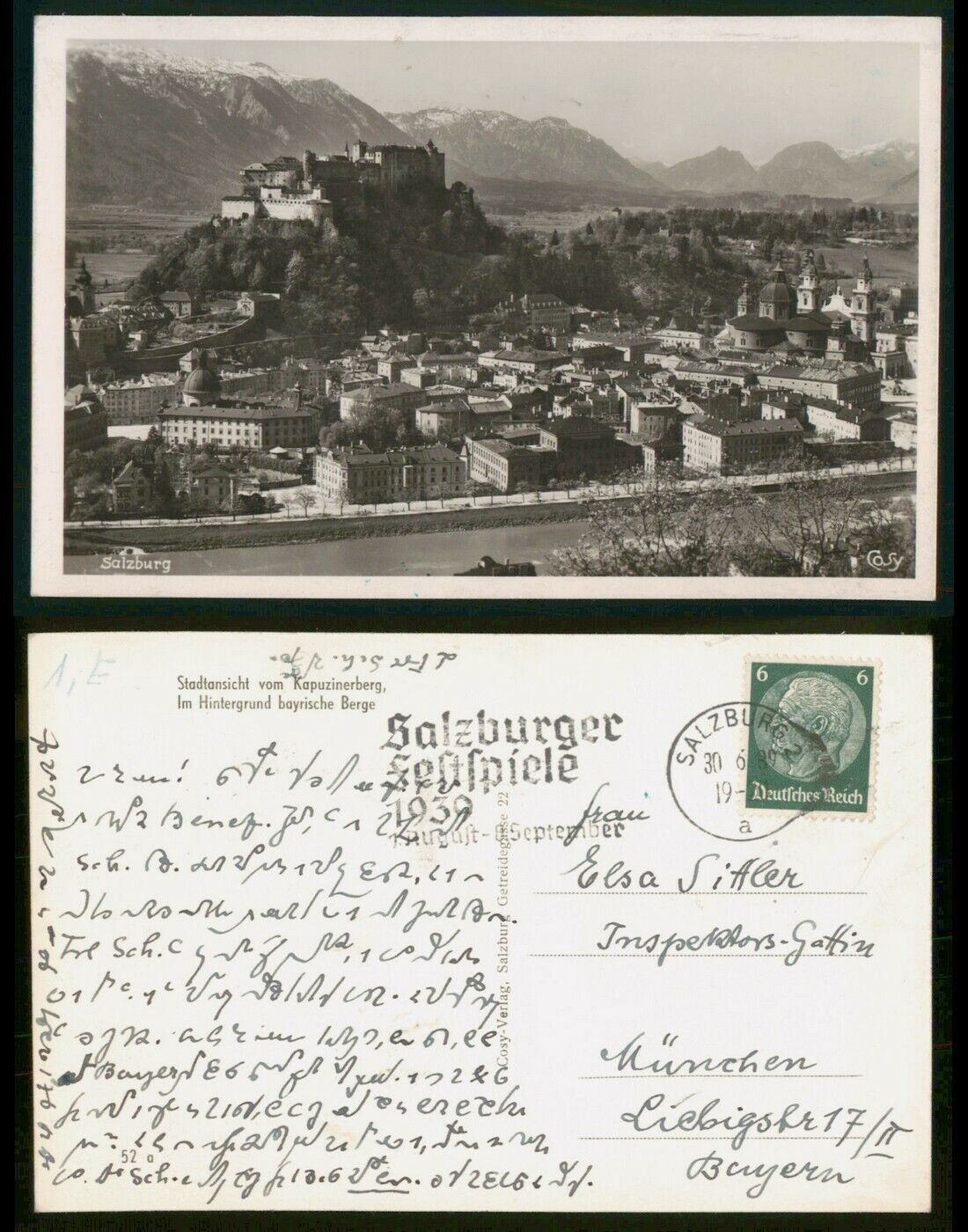 Mayfairstamps Germany 1939 Salzburg Festspiel To Munich Real Photo Postcard Wwr7 - $1.25