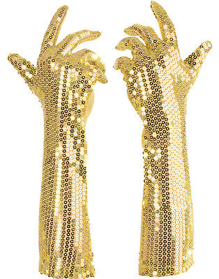 Gold Pailletten Lang Erwachsene Damen Flapper Kostüm Handschuhe