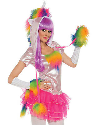 Rainbow Unicorn Rave Monster Hat Top Gloves Tutu Tail Womens Halloween Costume S](Rave Costumes For Women)