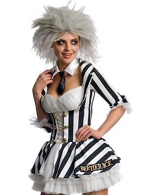 Beetlejuice The Movie Flirty Womens Sexy Blk/White Stripped Halloween Costume