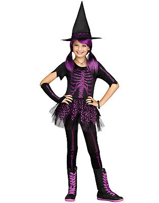 Purple Glitter Skeleton Witch Girls Gothic Halloween Costume