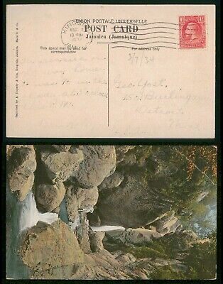 Mayfairstamps Jamaica 1924 Kingston to Detroit MI Postcard wwp11859