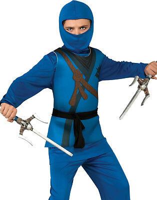 Ninja Jungen Karate Kid Blau mit Kapuze Schal Halloween Kinder Maskenkostüm