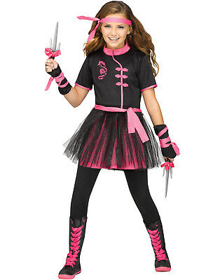 Ninja Miss Girly Child Warrior Black Pink Halloween Costume](Girly Halloween Costume)