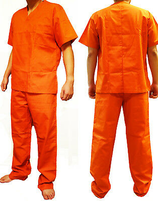 Orange Convict Costume (Orange Prisoner Scrub Convict Inmate Jail Unisex Piper Chapman)