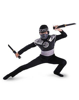 Dunkel Rabe Ninja Krieger Klassisch Jungen Halloween - Klassische Ninja Kostüm