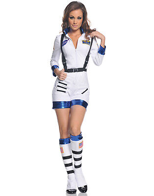 Girls Space Costumes (Womens Rocket Sexy Astronaut Space Girl Romper Adult Halloween)