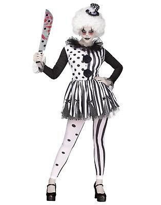 Killer Clown Womens Adult Evil Circus Jester Halloween Costume-S/M
