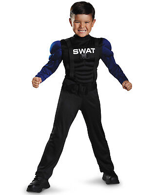 Swat Officer Muscle Chest Jumpsuit Toddler Halloween Costume- 3T- 4T