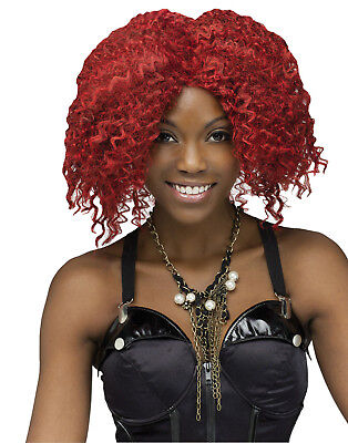 Red Burgundy Crimp Afro Rock Star Wig Halloween Costume Hair Accessory