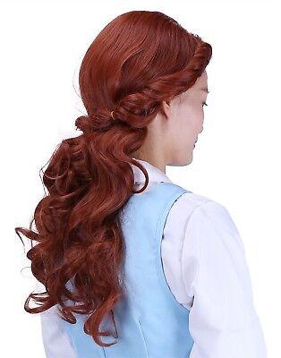 Adult Princess Belle Wig Pre-styled Curled Hair Women's Auburn Wig  w/ Wig Cap - Adult Belle Wig