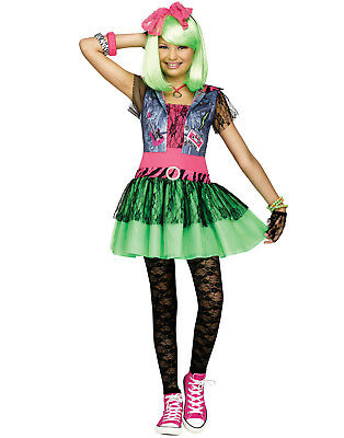 Rocking 1980'S Neon Punk Rock Girl Decades Halloween Costume (1980 S Costumes)