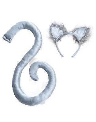 Erwachsene Grau Katze Tier Kostüm Zubehör Set-Os (Graue Katze Ohren)