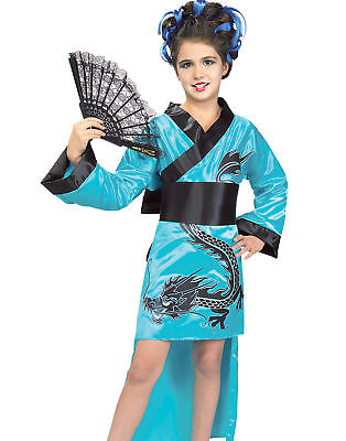 Child's Teal Dragon-Lady Costume, Large NEW