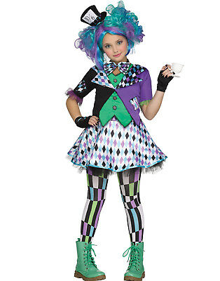 Mad Hatter Girls Wacky Alice In Wonderland Punk Halloween Costume