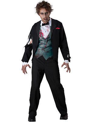 Gruesome Halloween Costumes (Mens Gruesome Groom Scary Dead Zombie Walking Dead Adult Halloween)