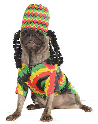 Rasta Dog Pet Dress Up Halloween Jamaican Reggae Costume](Dressed Up Dogs Halloween)