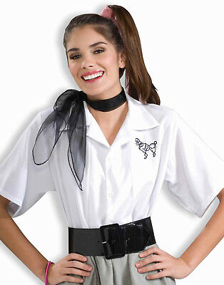 15.2mS Socke Hop Pudel BLUSE Weißes Shirt Erwachsene Damen Halloween (Pudel Shirt Kostüm)