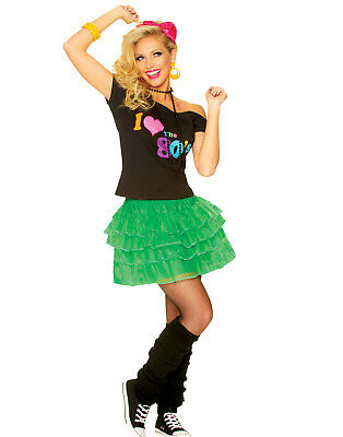 80'S Petticoat Skirt New Wave Madonna Party Girl Green Womens Halloween Costume 1