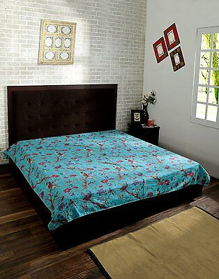 King Size Bird Print Kantha Quilt Cotton Handmade Blanket Indian Bed Spread Crzy