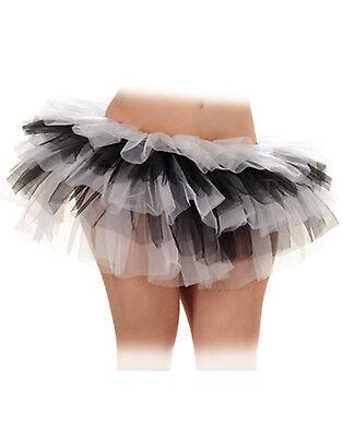 White Black Womens Ballet Dance Rave Halloween Tutu Petticoat-One Size