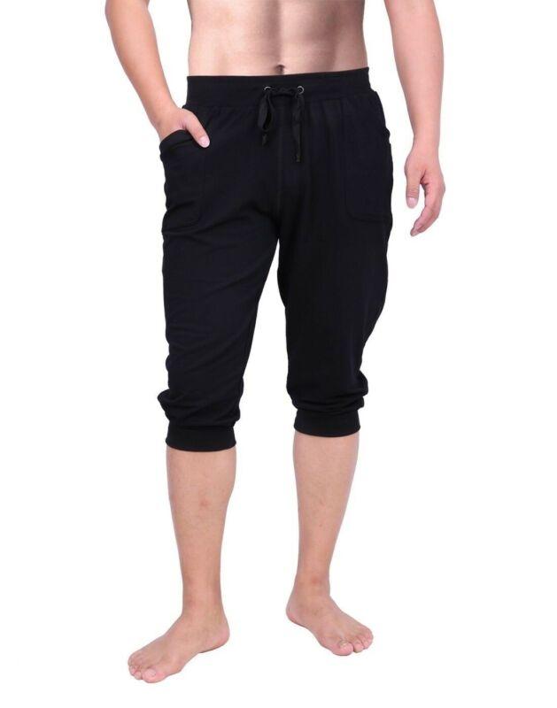 Mens Yoga Capris Joggers 3/4 Leg Shorts Gym Workout Cropped Pants Athletic