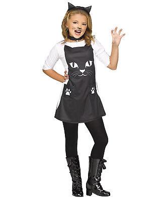 Für Katzen Schick Mädchen Kind Katze Tier Halloween Kostüm Kleid (Schickes Kleid Für Halloween)