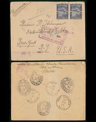 Haiti 1927 Registered Cover to New York US Returned To Sender