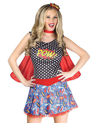 Comic Book Cosplay Costumes (Comic Book Cutie Adult Costume Fancy Dress POW Womens Cartoons Red Cape)