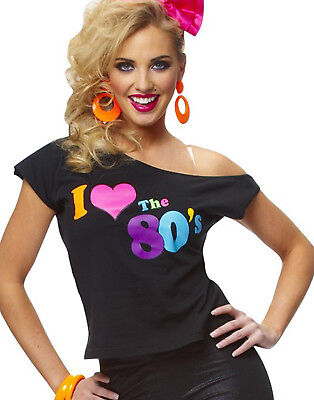 I Love The 80'S Shirt Retro New Wave Womens Fancy Dress Halloween Costume (Retro Halloween Costume)