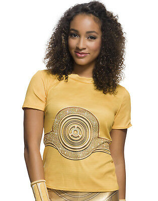 Star Wars Womens C-3Po Adult Rhinestone T-Shirt Costume - C3po Kostüm Shirt