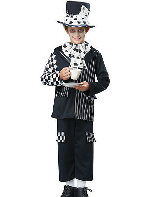 Alice In Wonderland Black & White Mad Hatter Boys Halloween Costume