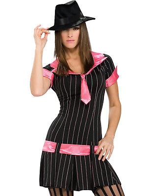Sexy Gangsta Girl Mob Gangster Wife Fancy Dress Womens Halloween Costume - Mob Wife Halloween Costume