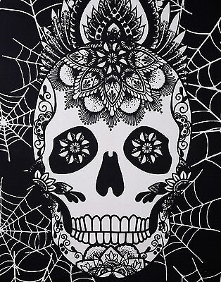 Halloween Tapestry (Black and White Halloween Tapestry Home Decor Skull Art Wall Hanging)