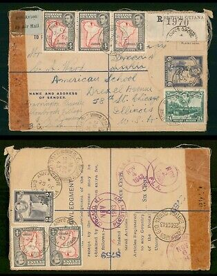 British Guiana 1943 Uprated Registered Stationery Censored Cover to US