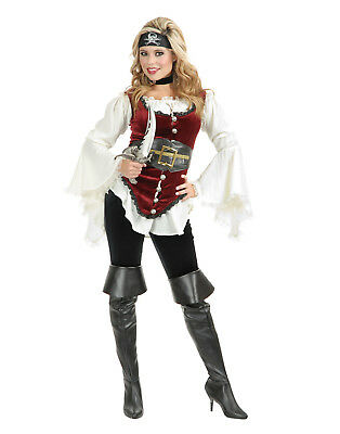 Pirate Lady Blouse Vest Belt Headband Complete Adult Womens Costume](Ladies Pirate Blouse)