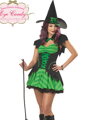 Sexy Green Womens Hocus Pocus Witch Adult Halloween Costume Dress Set](Green Witch Halloween Costume)