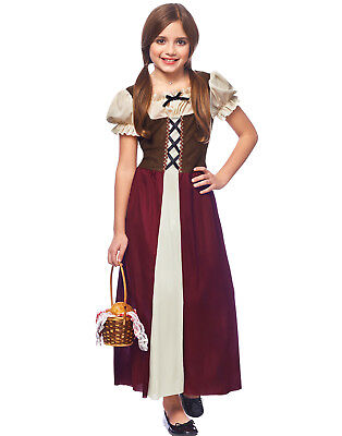 Peasant Girl Childs Renaissance Medieval Burgundy Halloween Costume Child Renaissance Peasant Girl