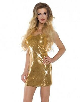 Sexy Gold Sequin Disco Flapper The Great Gatsby Mini Dress Halloween Costume